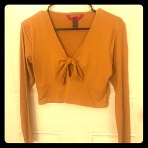 Faux suede mustard crop top